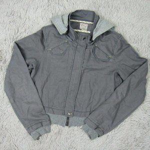Free People Sz 8 Gray Linen Blend Cropped Jacket